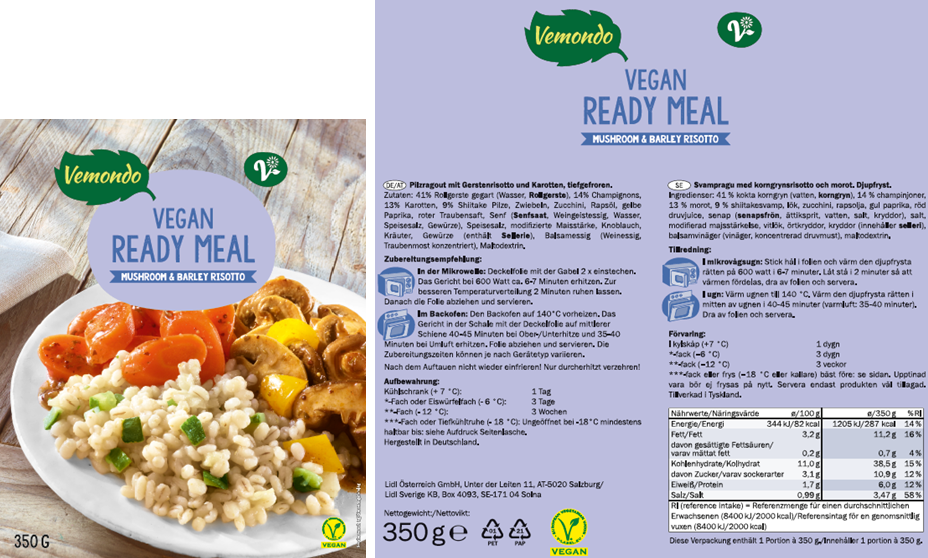 Lidl Vemondo Ready Meals Not Labelled In English Containing Allergens
