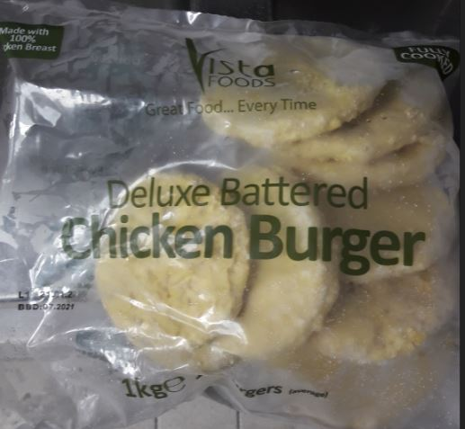 Vista Foods Chicken Burger Front of Pack